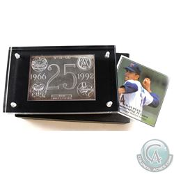 Limited Edition 1992 Nolan Ryan 25th Anniv. Of Major League Baseball 3oz Fine Silver Bar (Tax Exempt
