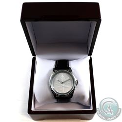Royal Canadian Mint F15 Silver Maple Leaf Men's Watch with black leather Band. Comes housed in the w