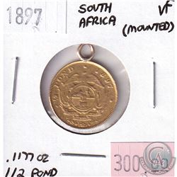 1897 South Africa 1/2 Pond Very Fine - Mounted. Contains .1177oz Fine Gold.