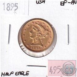 1895 United States Half Eagle EF-AU. Contains 0.242oz Fine Gold.
