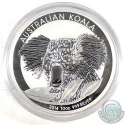 2014 Australia $10 Koala 10oz Fine Silver Coin (Tax Exempt). Please note capsules is scratched.