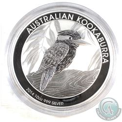 2014 Australia $10 Kookaburra 10oz Fine Silver Coin (Tax Exempt). Please note capsules is scratched.