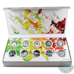 Complete 2014 O Canada Series $10 Fine Silver 10-coin Set with Deluxe Box (Tax Exempt).