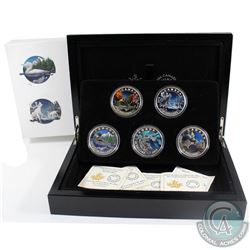 2016 Canada $20 Geometry In Art 5-coin Fine Silver Set in Deluxe Box (Tax Exempt). Outer cardboard b