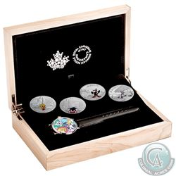 2015 Canada $20 Looney Tunes Classic Scenes 4-coin Fine Silver Set with watch in Deluxe case (Tax Ex