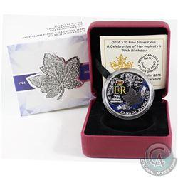2016 Canada $20 HRH Queen Elizabeth II's 90th Birthday Fine Silver Coin (TAX Exempt)