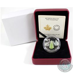 2017 Canada $20 Snow Covered Trees with Murano Glass Fine Silver Coin (Tax Exempt). Outer box is not
