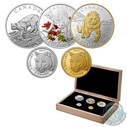 Complete 2014 Canada Cougar 5-Coin Set in Deluxe RCM Case (Tax Exempt). This set includes the $5 Fin