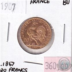 1907 France 20 Francs Brilliant Uncirculated. Contains .1867oz Fine Gold.