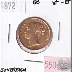 1872 Great Britain Sovereign VF-EF. Contains 0.2354oz Fine Gold.
