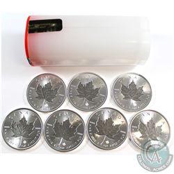 7x 2019 Canada $5 Incuse 1oz Fine Silver Maple Leafs in Original Plastic Tube (a few coins are toned