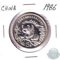 1986 China 5 Yuan WWF .900 Silver Panda - 0.643oz Pure Silver (Tax Exempt).