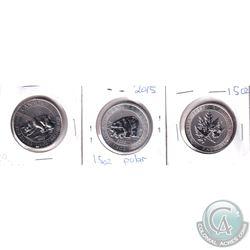 2013 Canada Polar Bear, 2015 Polar Bear & 2015 Super leaf $8 1.5oz .9999 Fine Silver Coins (toned).