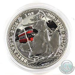 2014 Great Britain Double Decker Bus 1oz .999 Fine Silver Coloured Britannia in Capsule (toned on ob
