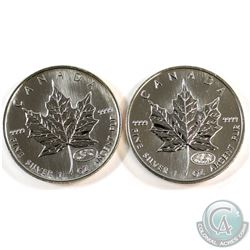 1999 & 2000 Canada $5 Fireworks Privy 1oz .9999 Fine Silver Maple Leafs (1999 toned on obverse). 2pc
