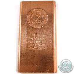 2011 Eagle Head USA 1 Kilo .999 Fine Copper Bar (Tax Exempt).
