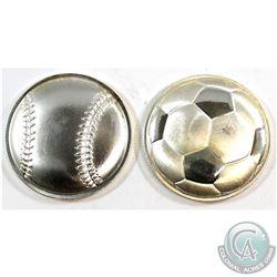2016 Soccer Ball & 2017 Baseball 3D Curved Monarch Precious Metals 1oz .999 Fine Silver Coins (toned