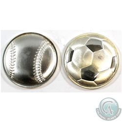 2016 Soccer Ball & 2017 Baseball 3D Curved Monarch Precious Metals 1oz .999 Fine Silver Coins (toned