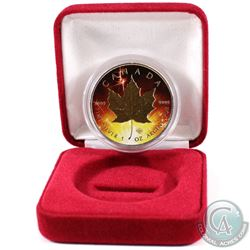 2016 Canada $5 Fireworks Coloured Gold Plated 1oz .9999 Fine Silver Maple Leaf Encapsulated in Red D