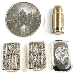 Lot of Miscellaneous 1oz Fine Silver Pieces - 2014 Maple Leaf, 1oz Eagle Poured Bar, 2x 1oz Monarch