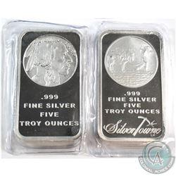 Silvertowne & Liberty Indian Head 5oz .999 Fine Silver Bars Sealed in Plastic. 2pcs (TAX Exempt)