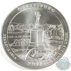 2011 USA Gettysburg State Quarter Design 5oz .999 Fine Silver Coin (toned) Tax Exempt