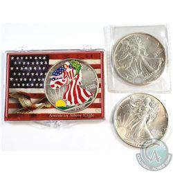 1986, 1991 & Coloured 2000 USA 1oz .999 Fine Silver Eagles (toned). 3pcs (TAX Exempt)