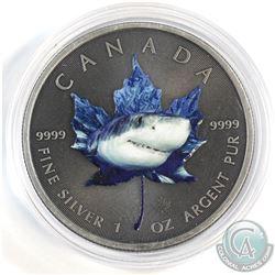 2015 Canada $5 Coloured Shark 1oz .9999 Fine Silver Maple Leaf in Capsule (lightly scuffed capsule)