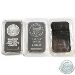 2x Sunshine Minting Inc. & 1x JM 1oz .999 Fine Silver Bars. One of the Sunshine bars is vintage and