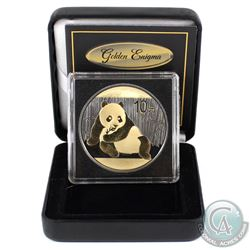 2015 China 10 Yuan 1oz Fine Silver Gold & Ruthenium Plated Panda Encapsulated in Golden Enigma Black