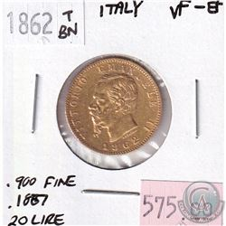 1862TBN Italy Gold 20 Lire VF-EF - Contains .1887oz Pure Gold.