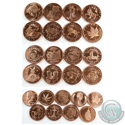 Lot of 1oz .999 Fine Copper Rounds All with Different Designs. 25pcs (TAX Exempt)