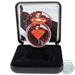 2016 Canada $5 Superman Coloured and Gold Plated 1oz .9999 Fine Silver Maple Leaf in Smitty's Treasu