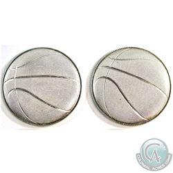 2016 & 2017 Monarch Precious Metals 1oz .999 Fine Silver 3D Curved Basketball Coins. 2pcs (TAX Exemp