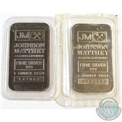 1oz Johnson Matthey .999 Fine Silver Bars Sealed in Plastic (toned). 2pcs (TAX Exempt)