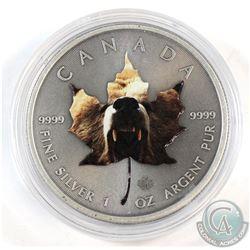 2015 Canada $5 Coloured Grizzly 1oz .9999 Fine Silver Antiqued Maple Leaf in Capsule (scuffed capsul