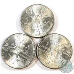 1983 Mexico 1oz .999 Fine Silver Libertads (light toning). 3pcs (TAX Exempt)
