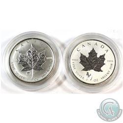 2009 Canada $5 Brandenburg Gate & 2014 Horse Privy 1oz .9999 Fine Silver Maple Leafs in Capsules (20
