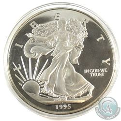 1995 USA Liberty 1/2 Pound .999 Fine Silver Coin in Capsule. Contains 7.3oz (coin is toned and scrat