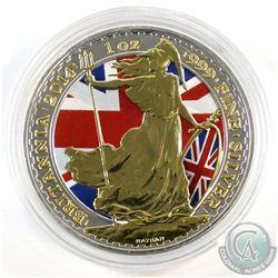 2014 Great Britain British Flag Coloured and Gold Plated 1oz .999 Fine Silver Britannia in Capsule (