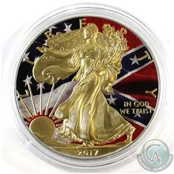 2017 USA American Confederate Flag Coloured and Gold Plated 1oz .999 Fine Silver Eagle in Capsule (s