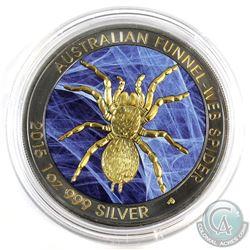 2015 Australia Web Coloured, Gold and Ruthenium Plated 1oz .999 Fine Silver Funnel-Web Spider in Cap