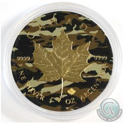 2016 Canada $5 Camouflage Coloured and Gold Plated 1oz .9999 Fine Silver Maple in Capsule (scratched