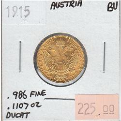 1915 Austria Gold Ducat Brilliant Uncirculated - Contains .1107oz Pure Gold.