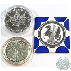 1999 Canada Maple, 2016 Australia Kangaroo & 2017 British Virgin Islands Pegasus 1oz Fine Silver Coi