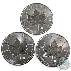2019 Canada $5 Incuse 1oz .9999 Fine Silver Maple Leafs. 3pcs (TAX Exempt)