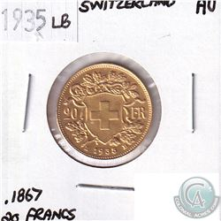 1935LB Switzerland Gold 20 Francs Almost Uncirculated - Contains 0.1867oz Pure Gold.
