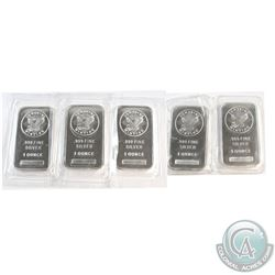 Sunshine Minting 1oz .999 Fine Silver Bars Sealed in Plastic. 5pcs (TAX Exempt)