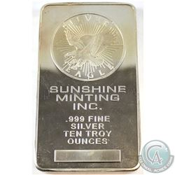 Older Sunshine Minting 10oz Silver Eagle .999 Fine Silver Bar (toned) Tax Exempt