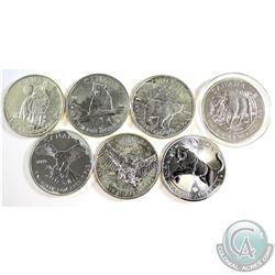 7x 2011-2016 Canada Wildlife 1oz .9999 Fine Silver Maple Leafs. You will receive 2011 Wolf, 2011 Gri